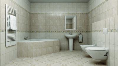Tágas fürdőszoba világos csempével és dekorcsíkkal - fürdő / WC ötlet, modern stílusban