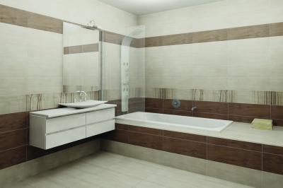 Barna fehér csempe a fürdőben - fürdő / WC ötlet, modern stílusban