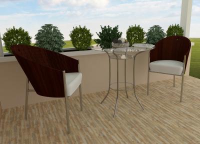 Zebrano mintás teraszburkolat - erkély / terasz ötlet, modern stílusban