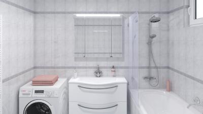 Dekorcsíkok a csempék között - fürdő / WC ötlet, modern stílusban