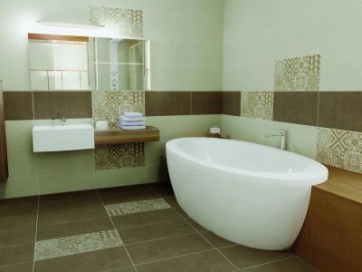 Többféle csempe a fürdőben - fürdő / WC ötlet, modern stílusban