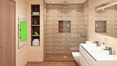 Bézs tónusú hidegburkolatok - fürdő / WC ötlet, modern stílusban