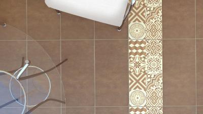 Dekoratív padlólapok - nappali ötlet, modern stílusban