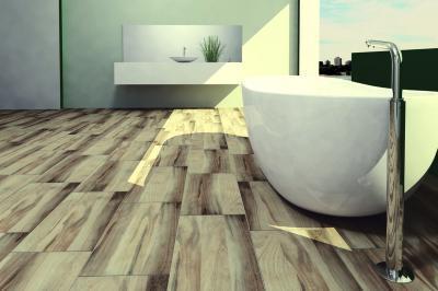 Fahatású padlóburkolat a fürdőben - fürdő / WC ötlet, modern stílusban