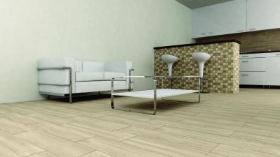 Fahatású hidegburkolat a konyhában és nappaliban - nappali ötlet, modern stílusban