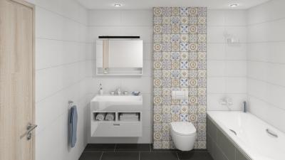 Majolika jellegű csempe - fürdő / WC ötlet, modern stílusban