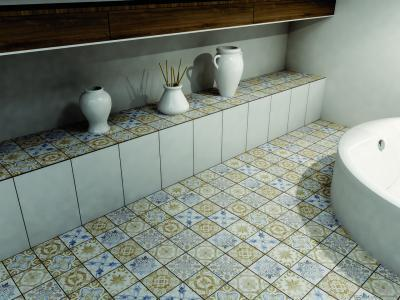 Majolika jellegű csempe a fürdőben - fürdő / WC ötlet, modern stílusban
