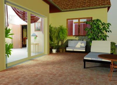 Kőhatású teraszburkolat - erkély / terasz ötlet, modern stílusban