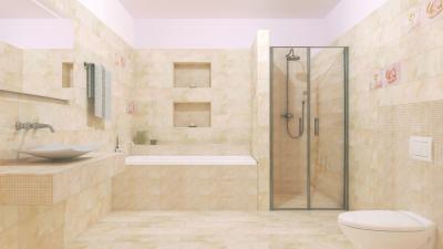 Elegáns fürdőszoba egységes burkolattal - fürdő / WC ötlet, modern stílusban