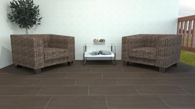 Modern, sötét színű teraszburkolat - erkély / terasz ötlet, modern stílusban