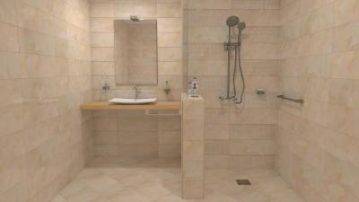 Padlón és falon végigfutó azonos hidegburkolat - fürdő / WC ötlet, modern stílusban