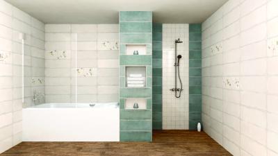Mintás és egyszerű felületű csempék váltakozása - fürdő / WC ötlet, modern stílusban