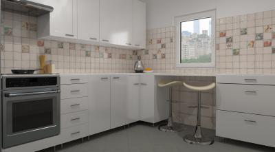 Fehér csempe dekor elemekkel - konyha / étkező ötlet, modern stílusban