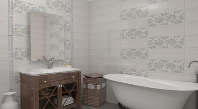 Fehér és mintás csempék a fürdőben - fürdő / WC ötlet, klasszikus stílusban