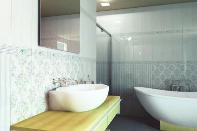 Többféle mintás csempék a fürdőben - fürdő / WC ötlet, modern stílusban