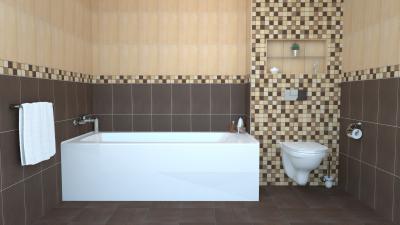 Kontrasztos színvilág a hidegburkolaton - fürdő / WC ötlet, modern stílusban