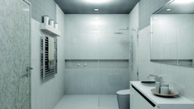 Egységes csempe a fürdőben - fürdő / WC ötlet, minimál stílusban