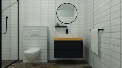 Metro csempe a fürdőben - fürdő / WC ötlet, modern stílusban