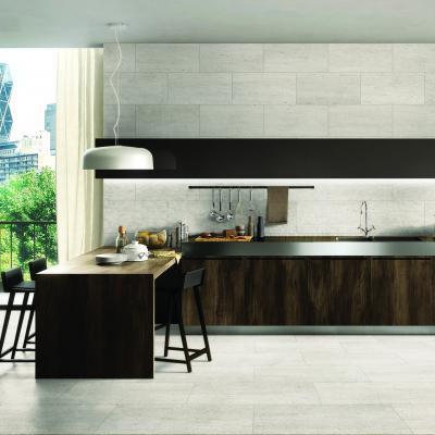 Beton hatású burkolólapok a konyhában - konyha / étkező ötlet, modern stílusban