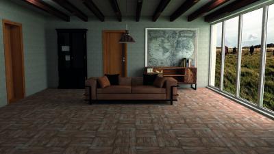 Kőhatású padlóburkolat a nappaliban - nappali ötlet, modern stílusban