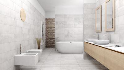 Beton hatású burkolatok dekor elemekkel - fürdő / WC ötlet, modern stílusban