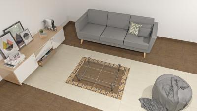 Fahatású padlóburkolat a nappaliban - nappali ötlet, modern stílusban