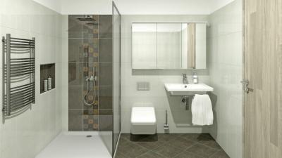 Fehér csempe sötét dekor csíkkal - fürdő / WC ötlet, modern stílusban