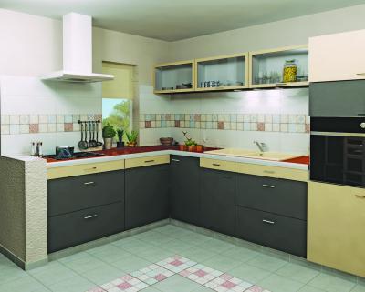 Azonos csempe hangulat falon és padlón - konyha / étkező ötlet, modern stílusban