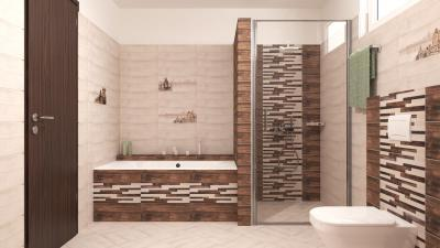 Barna és fehér csempe a fürdőben - fürdő / WC ötlet, modern stílusban