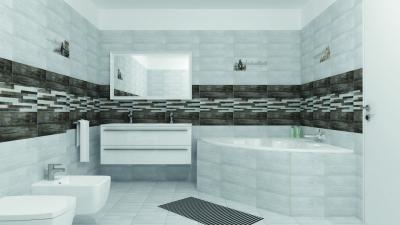 Világos és sötét csempék a fürdőben - fürdő / WC ötlet, modern stílusban