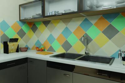 Színes falicsempék a konyhában - konyha / étkező ötlet, modern stílusban
