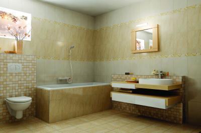 Sárga tónusok a burkolatokon - fürdő / WC ötlet, modern stílusban