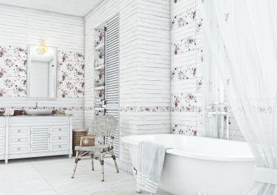 Fehér és virágos csempe a fürdőben - fürdő / WC ötlet, rusztikus stílusban