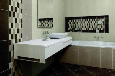 Kontrasztos színű burkolatok a fürdőben - fürdő / WC ötlet, modern stílusban