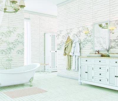 Virágmintás csempe a fürdőben - fürdő / WC ötlet, rusztikus stílusban