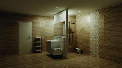 Fahatású hidegburkolat a fürdőben - fürdő / WC ötlet, minimál stílusban