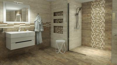 Barna, bézs burkolatok a fürdőben - fürdő / WC ötlet, minimál stílusban