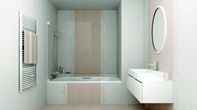 Fürdő elegáns hidegburkolattal - fürdő / WC ötlet, modern stílusban