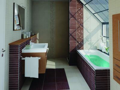 Tégla jellegű burkolat a fürdőben - fürdő / WC ötlet, modern stílusban