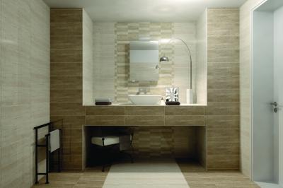 Kő hatású burkolat a fürdőben - fürdő / WC ötlet, modern stílusban
