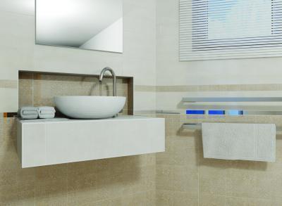 Világos színű csempék a fürdőben - fürdő / WC ötlet, modern stílusban