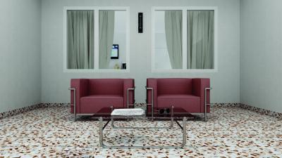 Kőmintás hidegburkolat a nappaliban - nappali ötlet, modern stílusban