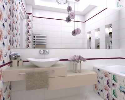Virágos fürdőszoba egy hölgy számára - fürdő / WC ötlet, modern stílusban