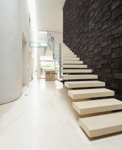 Rusztikus 3D parafa falpanel - Cork Bricks - bejárat ötlet, modern stílusban