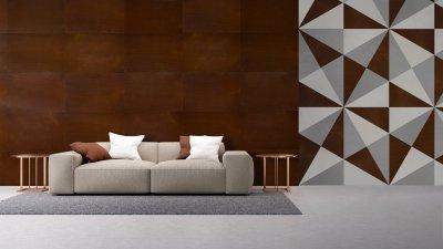 Beton hatású parafa falburkolat - Metalegance - nappali ötlet, modern stílusban