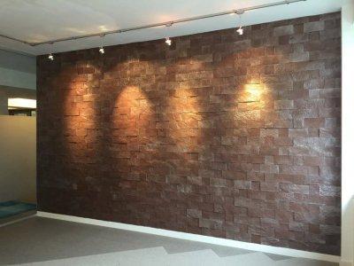Téglamintás bársonyos parafa falburkolat - Korkstone - nappali ötlet, modern stílusban