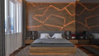 Jégtáblák - innovatív fa falburkolat - háló ötlet, modern stílusban