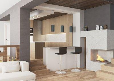 Modern lakóház nappalija - konyha / étkező ötlet, modern stílusban