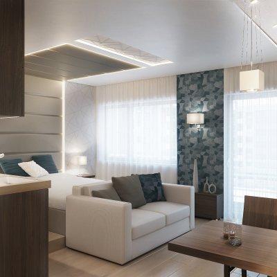 Kiadásra tervezett egyszobás lakás - nappali ötlet, modern stílusban