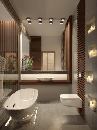 Szállodai fürdőszoba - fürdő / WC ötlet, modern stílusban